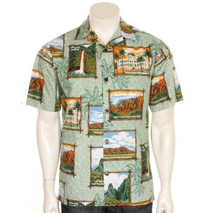 Official Hawaii State Parks Men's Aloha Shirt, Sage Color