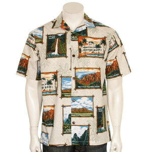 Official Hawaii State Parks Aloha Shirt, Tan