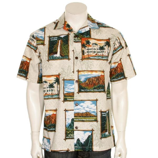 Official Hawaii State Parks Men's Aloha Shirt, Natural Tan