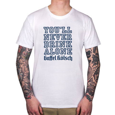 gaffel-shirt-you-never-drink-alone-weiss