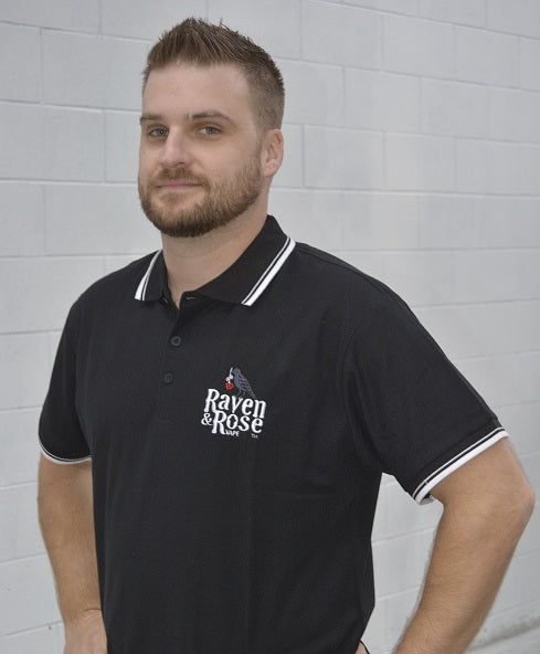 Raven and Rose Embroidered Polo Shirt Black