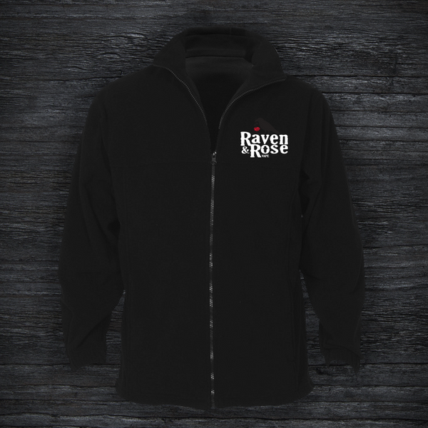Raven and Rose Embroided Polar Fleece Jacket Black