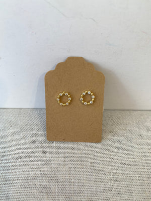 Circle Stone Post Earrings