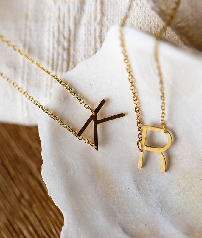 jj+rr Asymmetrical Initial Necklace