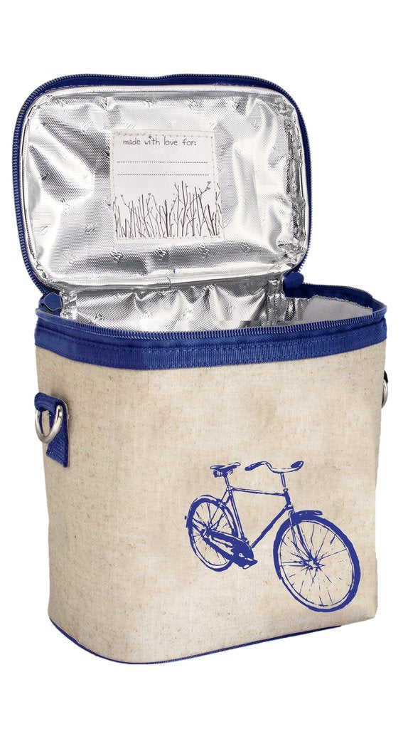 So Young Blue Bicycle Large Cooler Lunch Bag