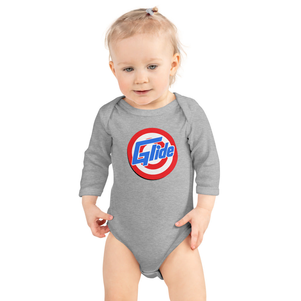 Glide Long sleeve onsie with a spin on the glide logo