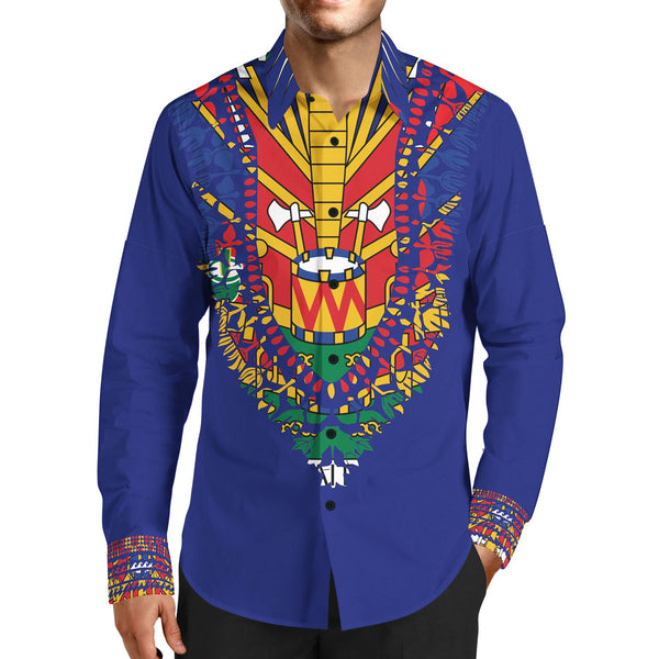 MEN'S FASHION TMMG BLUE HAITIAN FLAG DASHIKI DRESS SHIRT