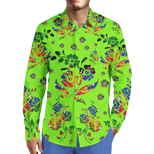 MEN'S LIME GREEN FASHION TMMG HAITIAN FLAG CHOUBLAK DRESS SHIRT