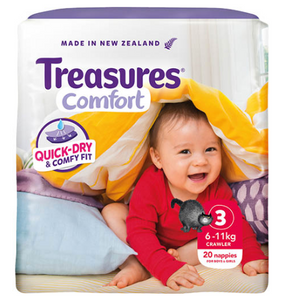 Treasures Comfort Nappies Boys & Girls 6-11kg Crawler 20ea