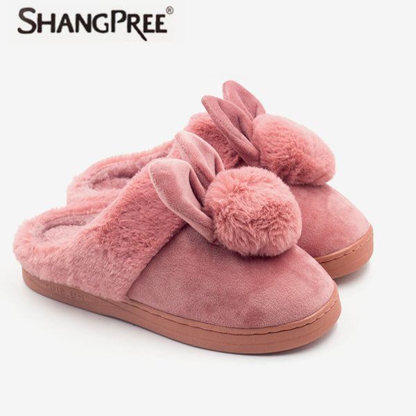 Womens Lovely Rabbit Cotton Slippers Mens Soft Faux Fur Winter Warm Bedroom Indoor Shoes