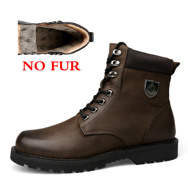 ... Autumn And Winter Add Fur Men Boots Top Quality Comfortable Men Winter  Shoes Natural Leather Waterproof ...