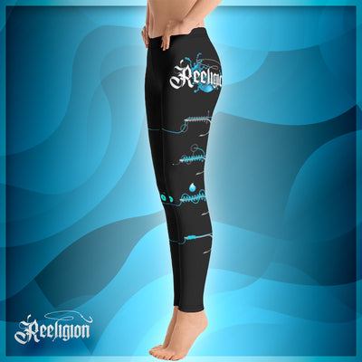 Black Licorice Learn Your Knots Fishing Leggings - Reeligion