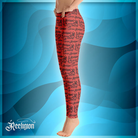 Fiesta Black Pattern Womens Fishing Leggings - Reeligion