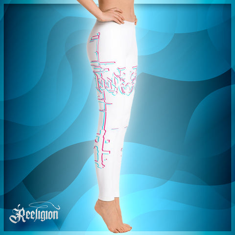 Pure White 3D Fishing Rod Women Leggings - Reeligion