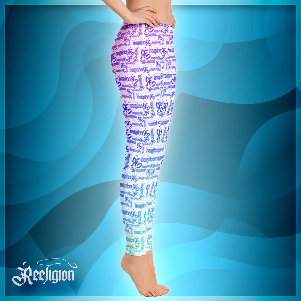 Pure White Rainbow Pattern Fishing Leggings
