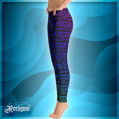 Black Licorice Rainbow Pattern Womens Fishing Leggings - Reeligion
