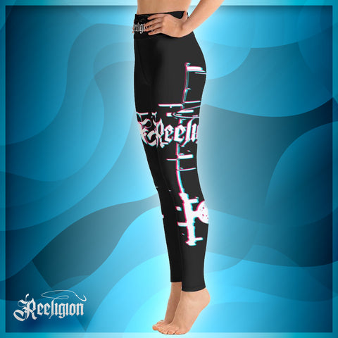 Black Licorice 3D Fishing Pole Hi Rise Womens Leggings - Reeligion