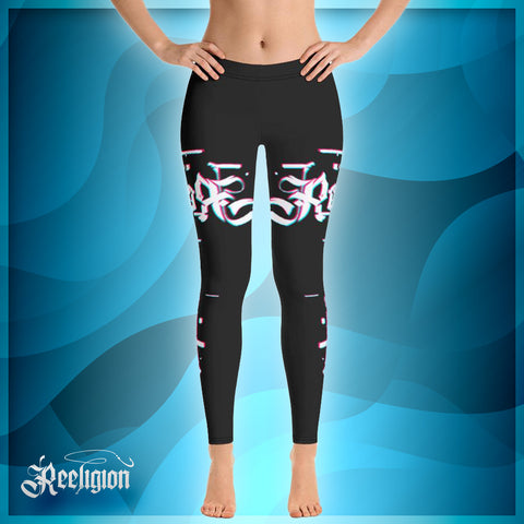 Black Licorice 3D Fishing Rod Womens Fishing Leggings - Reeligion