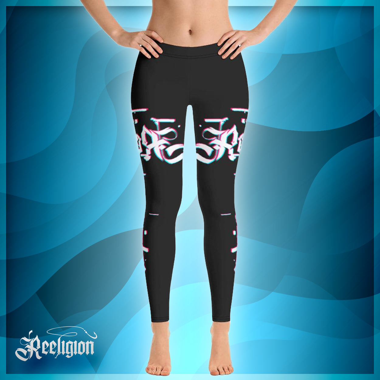 Black Licorice 3D Fishing Rod Womens Fishing Leggings