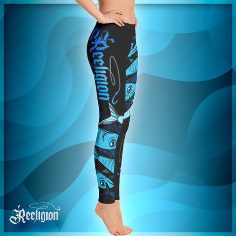 "Black ""Schools In"" Womens Fishing Leggings - Reeligion"