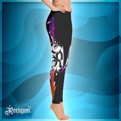 Black Licorice Spear Fishing Womens Leggings - Reeligion