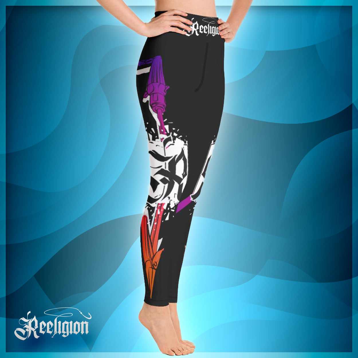 Black Licorice Spear Fishing Hi Rise Womens Leggings