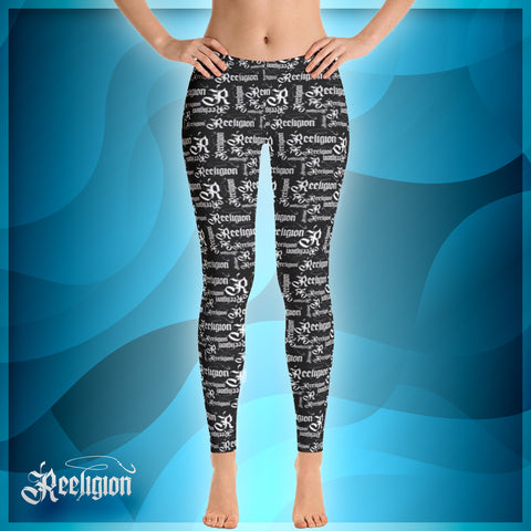 Black Licorice White Pattern Fishing Leggings - Reeligion