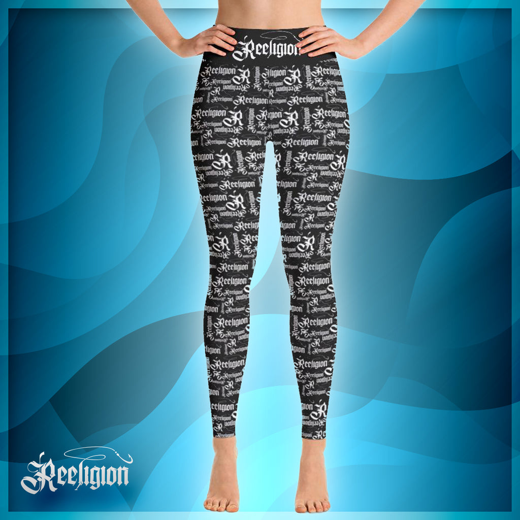 White Pattern Hi Rise Fishing Leggings