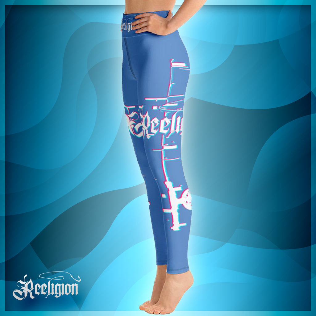 Blue Sky 3D Fishing Pole Hi Rise Womens Leggings