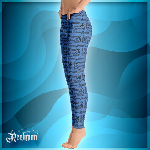 Black Pattern Womens Fishing Leggings - Reeligion