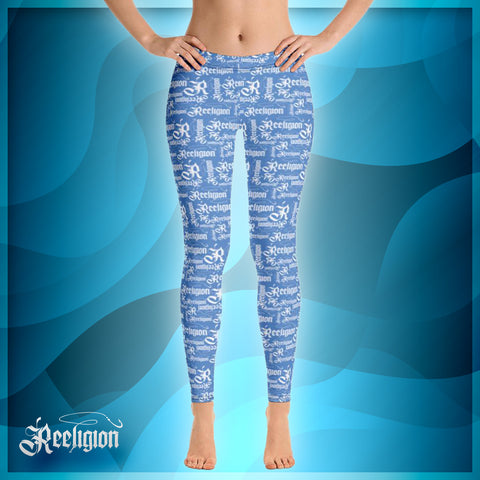 Blue Sky White Pattern Womens Fishing Leggings - Reeligion