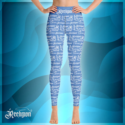Blue Sky White Pattern Hi Rise Fishing Leggings - Reeligion