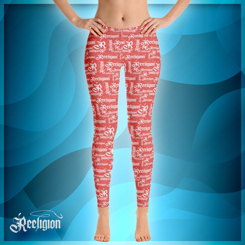 Fiesta White Pattern Womens fishing Leggings - Reeligion