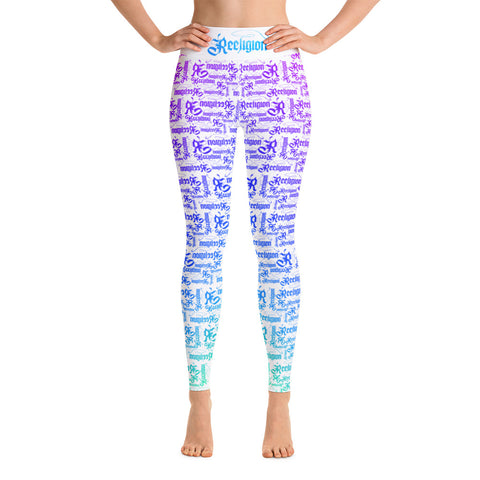White Rainbow Pattern Hi Rise Fishing Leggings