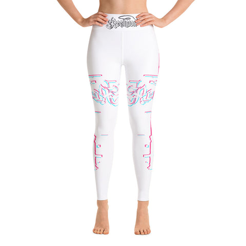 Pure White 3D Fishing Pole Hi Rise Leggings