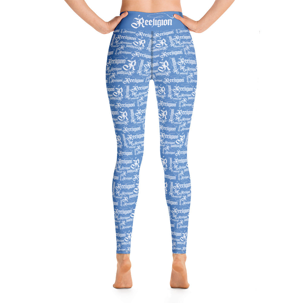 Blue Sky White Pattern Hi Rise Fishing Leggings
