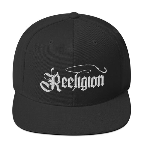 White Embroidered Fishing Snapback Hat - Reeligion