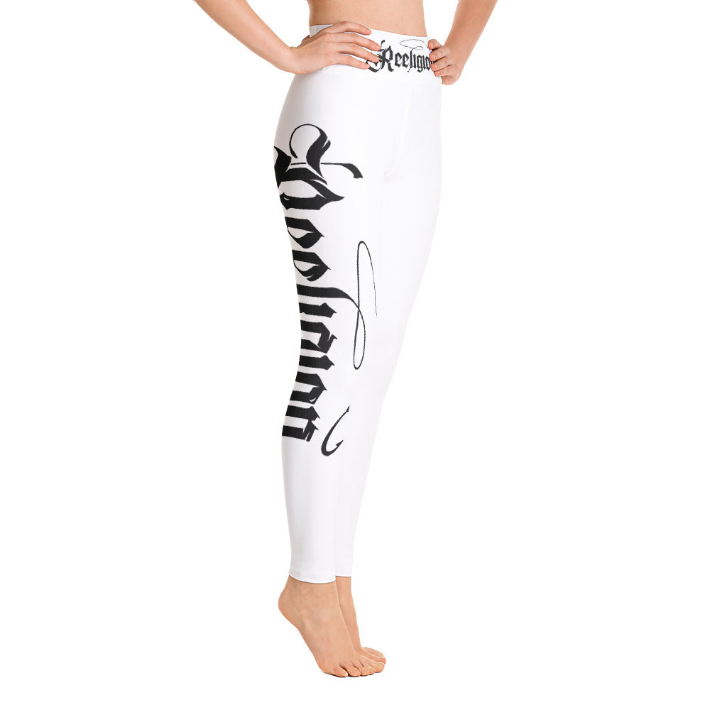 Black Print Yoga Women Fishing Leggings