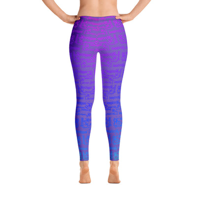 Royal Purple Rainbow Pattern Fishing Leggings - Reeligion