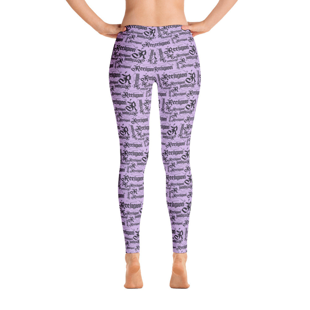 Sweet Lilac Black Pattern Fishing Leggings