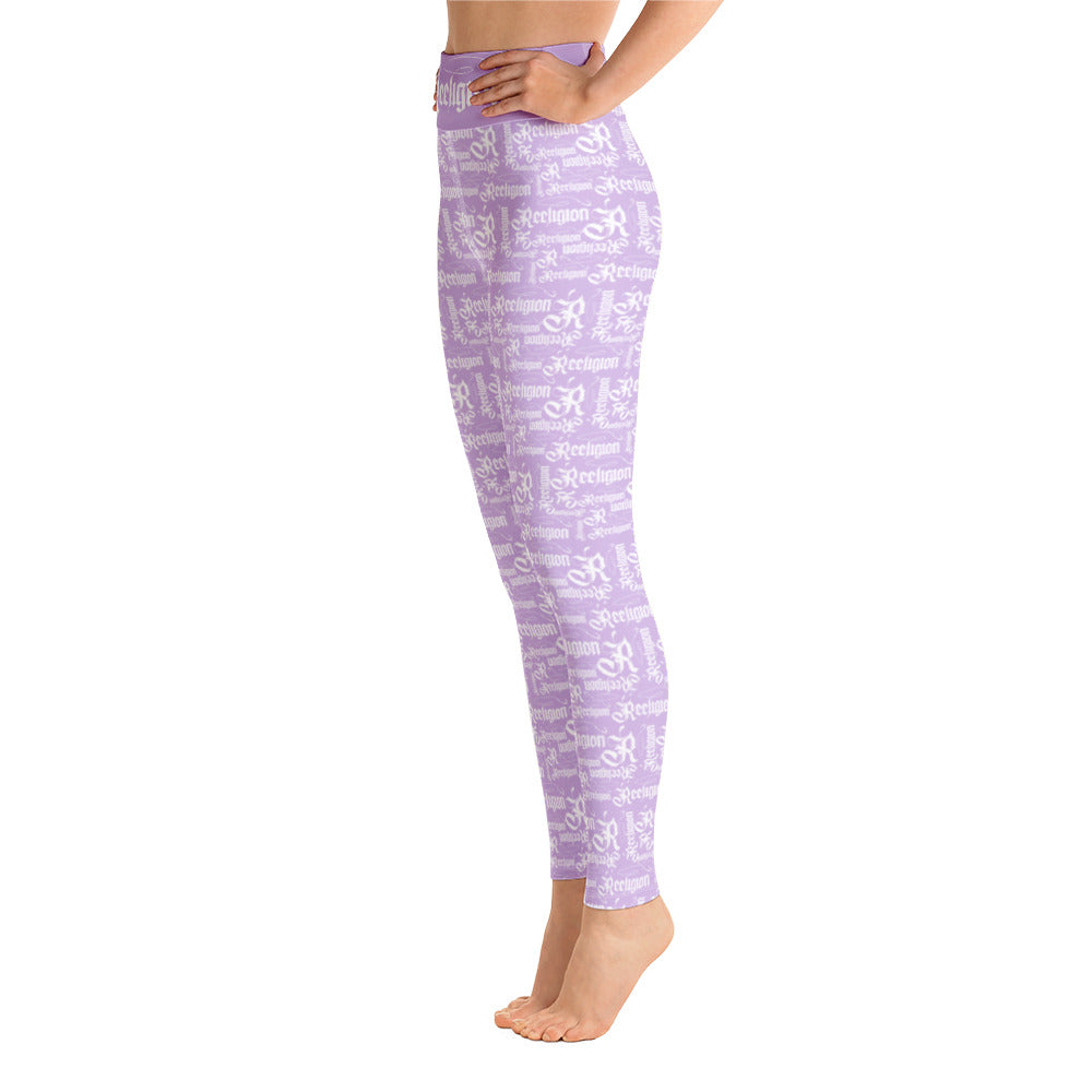 Sweet Lilac White Pattern Hi Rise Leggings