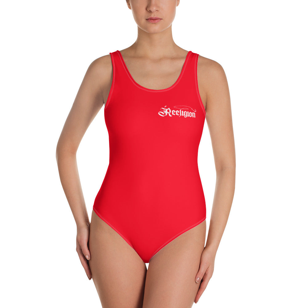 Designer Red One-Piece Fishing Swimsuit