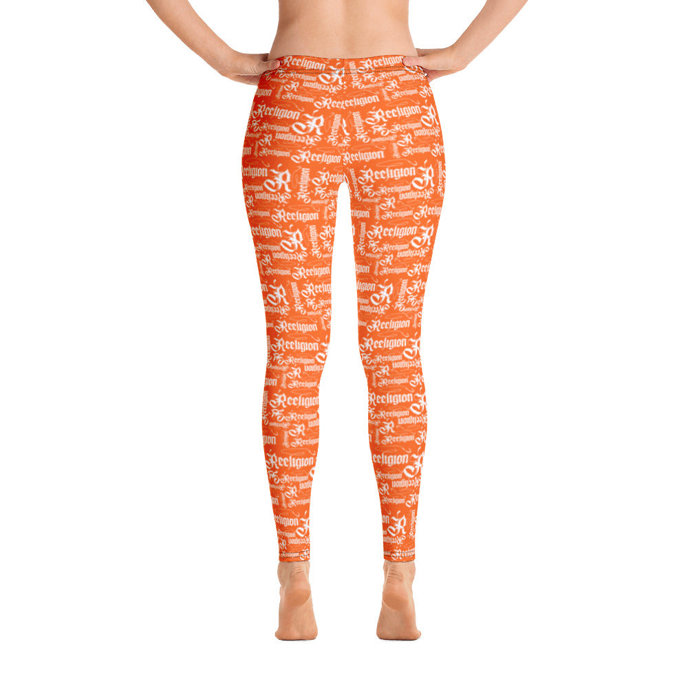 Tiger Orange White Pattern Fishing Leggings