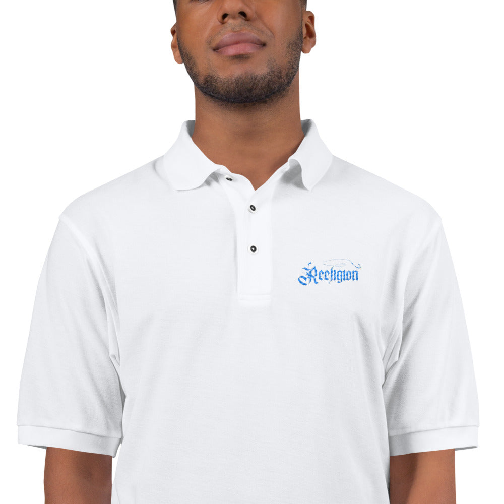 Men's Embroidered Fishing Polo Shirt - White