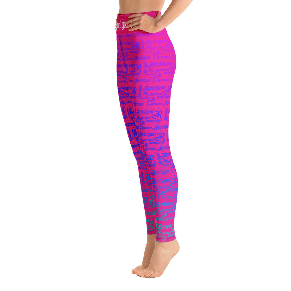 Sassy Pink Rainbow Pattern Hi Rise Leggings