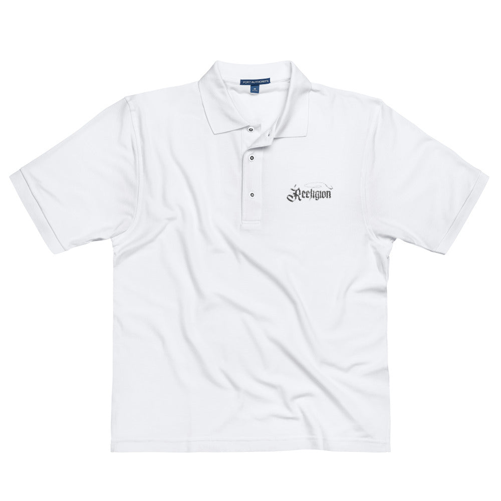 Men's Embroidered Fishing Polo Shirt - White - Reeligion