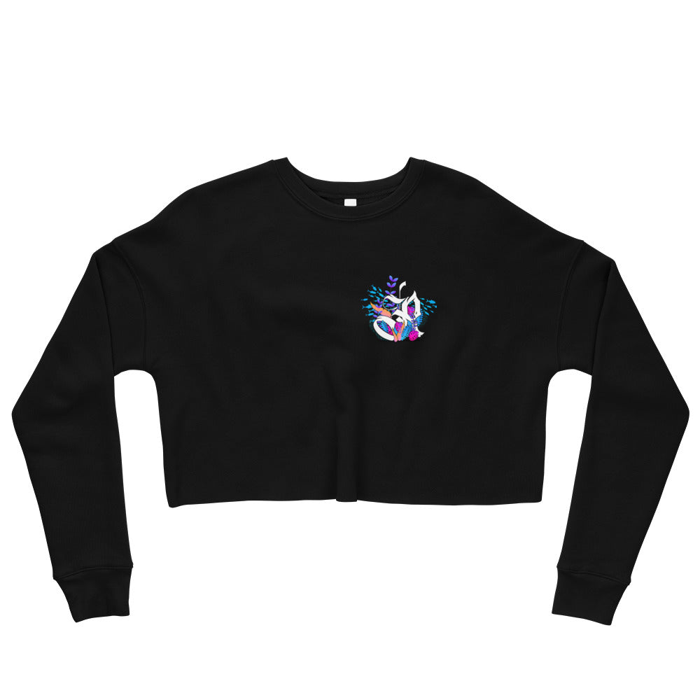 Coral Reef Fishing Crop Sweatshirt - Black