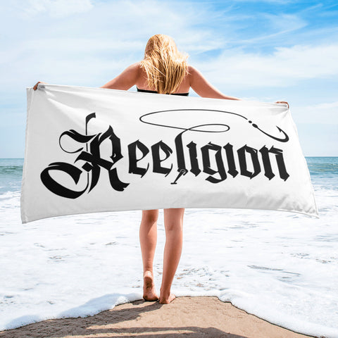 Black Logo Sublimated Fishing Beach Towel - Reeligion