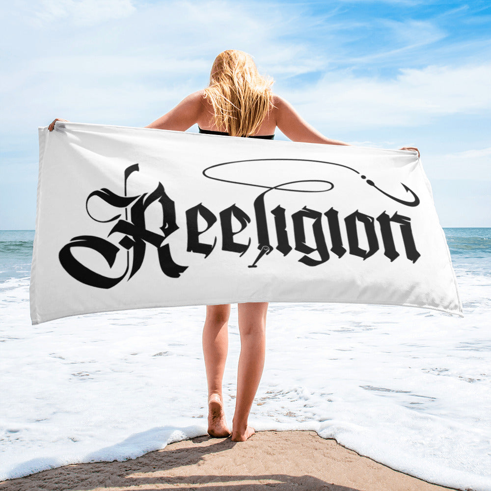 Black Logo Sublimated Fishing Beach Towel