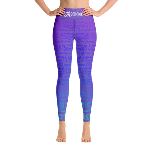 Purple Rainbow Pattern Hi Rise Fishing Leggings